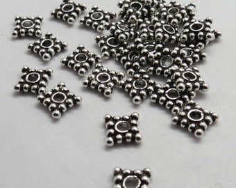 hole 3mm Oxidized silver Jewellery Findings Daisy Spacers 1.8mm thick 10pcs 6.5mm 925 Antique Sterling silver - FDSSS0419