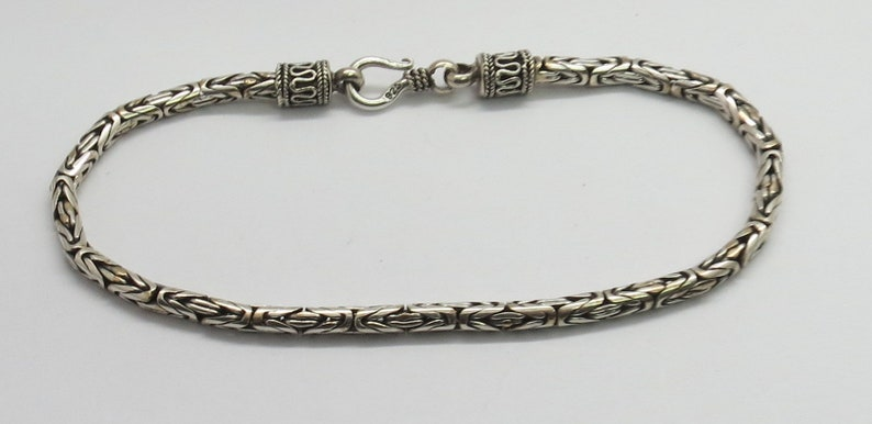 925 Sterling Silver Bracelets Bali Silver Chain Silver Bracelet 21 cm Long Byzantine 3 mm Round Silver Chain