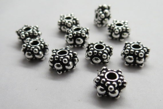 2 Pieces 925 Sterling Silver Bali Beads Hill Tribe Handmade Beads 11mm Round