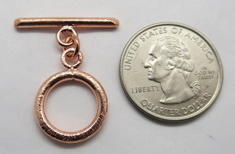 1 Piece Toggle Clasp Hook Solid Copper Toggle 16mm Round Brushed Copper Toggles Jewelry Making Supplies