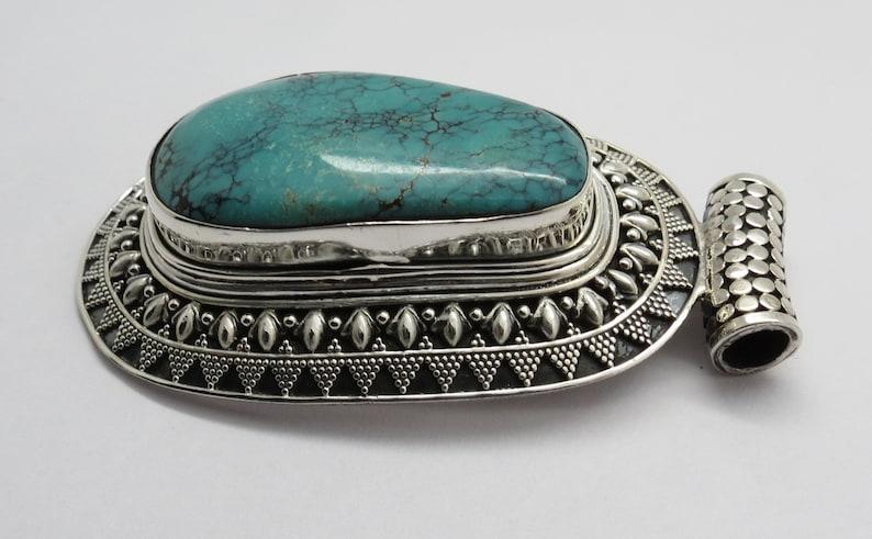 925 Sterling Silver Pendant Natural Turquoise Gem Stone Pendant Handmade Silver Pendant Big Silver Stone Pendant
