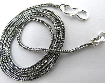 1 Piece Sterling Silver Chain Necklace 925 Sterling Silver Chain With S Hook 18.5 Inch Long