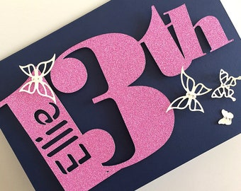13th Birthday Card with Name and Butterflies, Personalised Card 13th, Any Age Card, 21st Birthday Card Female, Personalised Age 15 Card