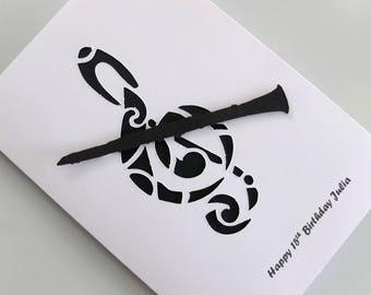 Card for Clarinet Player, Music Lover Card, Card with Recorder, Card for Musician, 30th, 40th, 50th, 60th, 70th, Musician Card, Custom Made