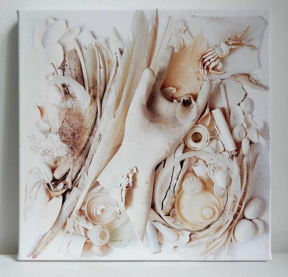 Fineartprint Beach goods collage white glove