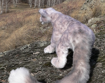 Snow leopard. FOR ORDER . Realistic soft toys. Soft sculpture. OOAK. Stuffed animals. Art doll