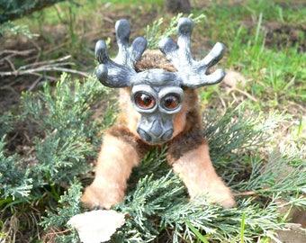 Fuzzy moose baby elk  toddler handmade