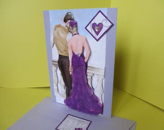 Hand made 3D card couple in love