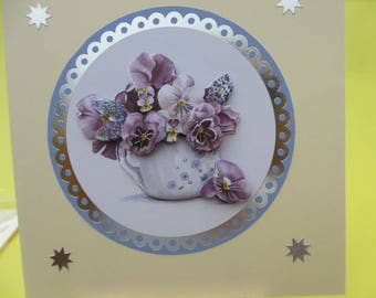 Card 3D (embossed) a pot of pansies stickers silver