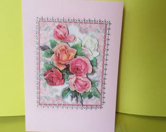 Card (embossed) 3-d rose Bouquet and stickers silver