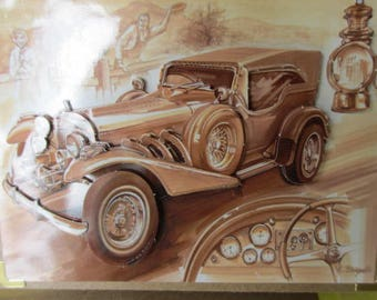 Card 3D (embossed) race car of yesteryear