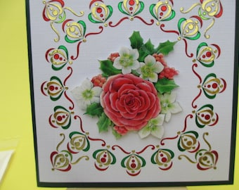 (Embossed) 3D Christmas stickers Green Gold and Red Bouquet card
