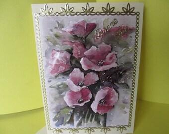 """Happy birthday"" card 3D (raised) flowers"