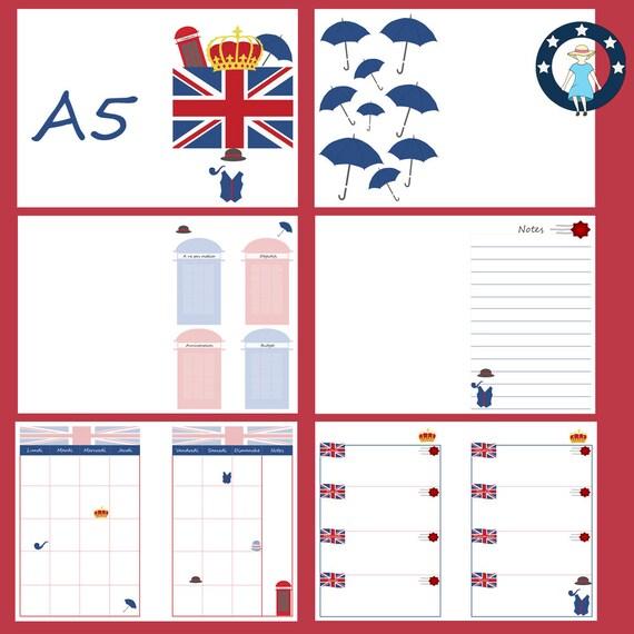 Kit Pages à Imprimer Angleterre Pour Planner A5 Non Datés Français