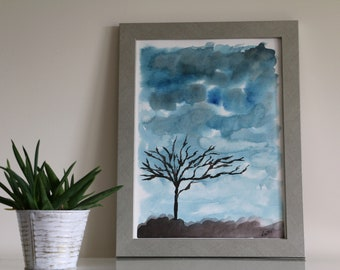 Clouds and Tree - Original Watercolor Painting