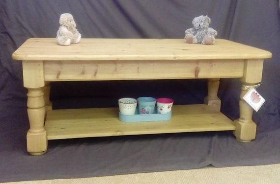 Solid Pine Coffee Table Chunky Farmhouse Country Rustic Etsy