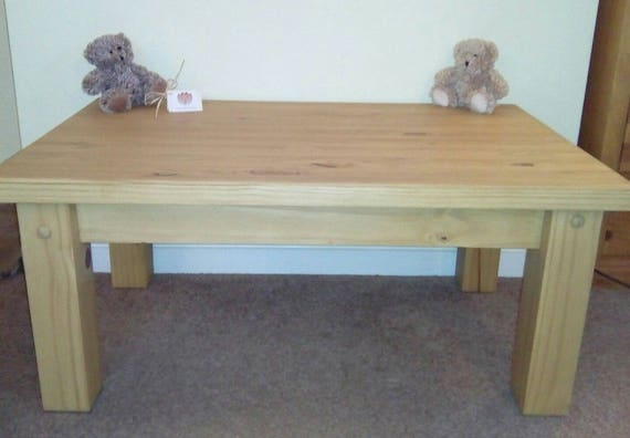 Solid Pine Coffee Table Chunky Farmhouse Country Rustic Style Etsy