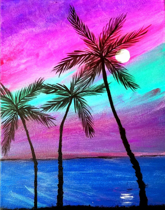 Tropical Painting Palm Tree Painting Glow In The Dark Art Etsy