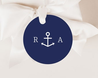 Anchor Wedding Initial Tag Template, Nautical Wedding Gift Tag Template,Printable Wedding Favor Tag,Editable Wedding Round Stickers Template