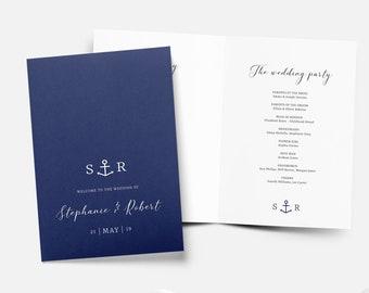 Anchor Wedding Order of Service Template, Navy Order of the Day Printable Wedding Service Program, Beach Wedding Ceremony Editable Template