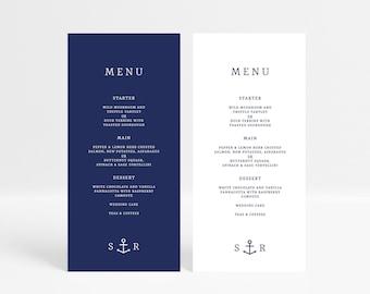 Anchor Wedding Menu Template, Nautical Wedding Menu Card, Printable Wedding Table Menu, Editable Wedding Menu, Beach Wedding Menu Download