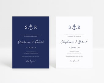 Anchor Wedding invitation Template, Nautical Wedding Invite Download, Beach Wedding Invite Digital, Printable Wedding Invite Navy Templett