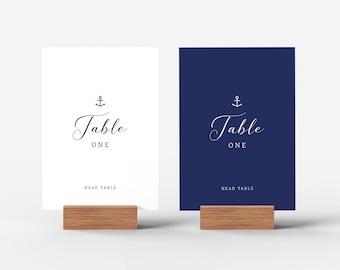 Nautical Wedding Table Numbers Printable Template Table Numbers Download, Navy Table Numbers Template, Anchor Wedding Table Names PDF