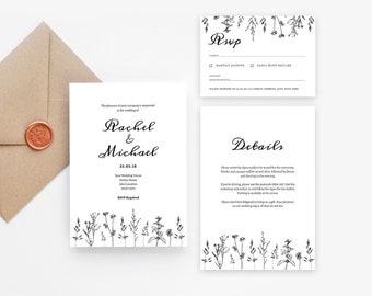 Wildflower Wedding Invitation Template Suite   Printable Wedding Invites Set   Modern Wedding Invite Template   Rustic Wedding Invites PDF