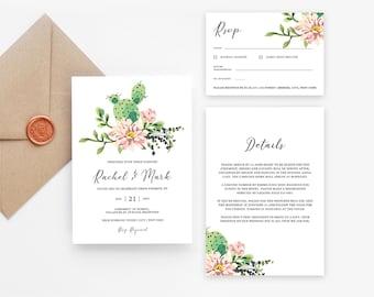 Jpeg DIY Wedding Cards Watercolor Greenery #SPP087wis Cactus Wedding Invitation Template PDF Wedding Invitation Set TEMPLETT