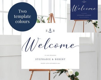 Nautical Wedding Welcome Sign, Navy Welcome to Our Wedding Sign Printable, Anchor Wedding Welcome Sign, Custom Wedding Signage Download PDF