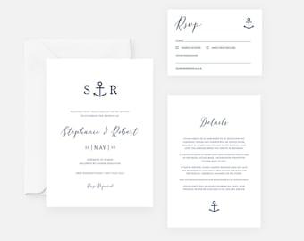 Nautical Wedding Invitation Template Anchor Wedding Invite Set Printable Template Nautical Invitation Download Modern Navy Beach Wedding