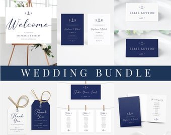 Anchor Wedding Bundle, Nautical Wedding Template Bundle, Navy Wedding Invite Template Download, Beach Wedding Complete Set Bundle Download