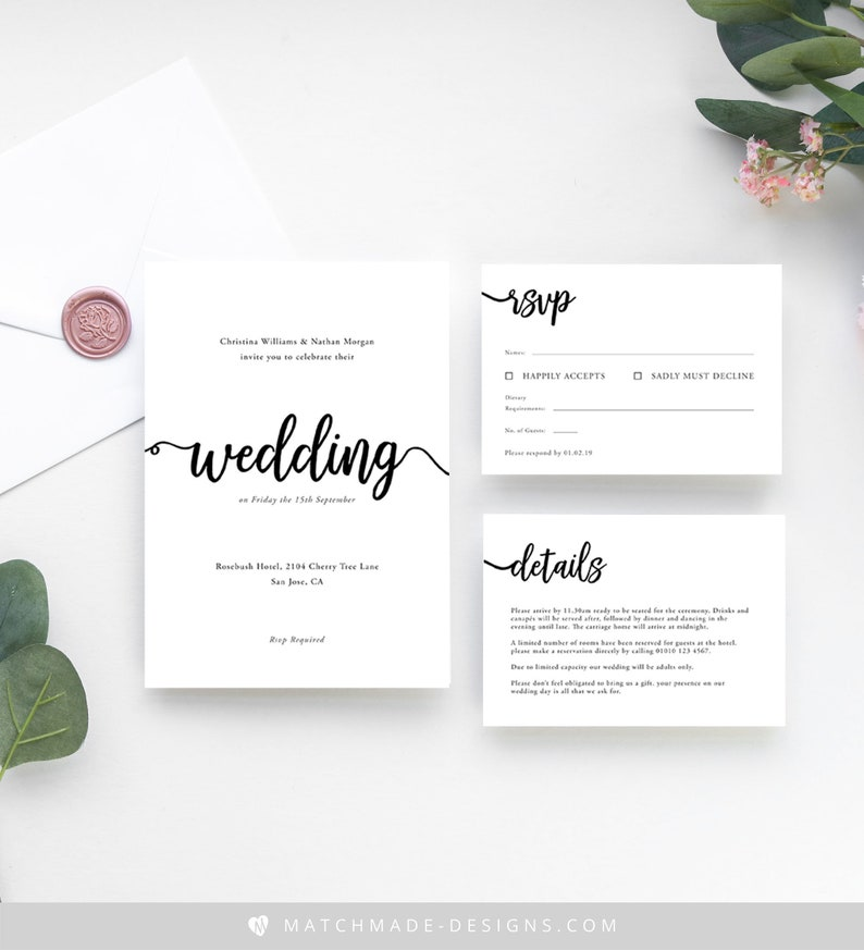 Save The Dates and RSVPs Modern Calligraphy \u2022 Ready to Write Wedding Invitations