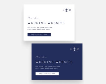 Anchor Wedding Website Card Template, Nautical Wedding Details Card Template, Navy Wedding Info Insert Card, Printable Wedding Info Card