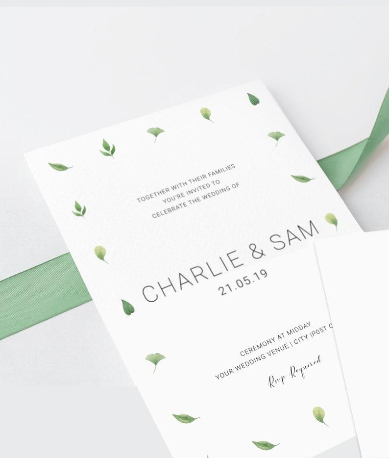Minimalist Greenery Wedding Invitation Template
