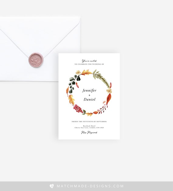 Autumn Wedding Invite Download Editable Fall Wedding Invite PDF Templett Fall Wedding Invitation Template Printable Fall Wedding Invite