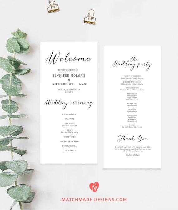 simple wedding program template minimalist order of service etsy