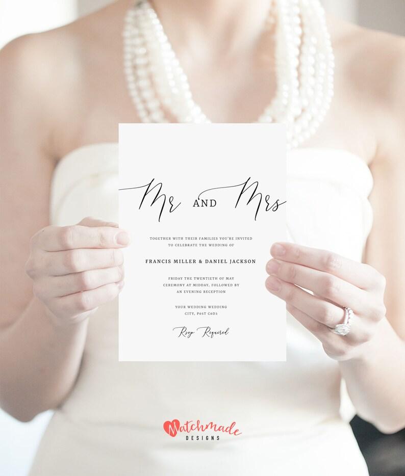 Mr And Mrs Wedding Invitation Template