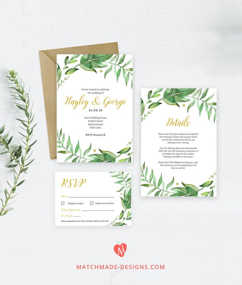 Greenery Wedding Invitation Template Download