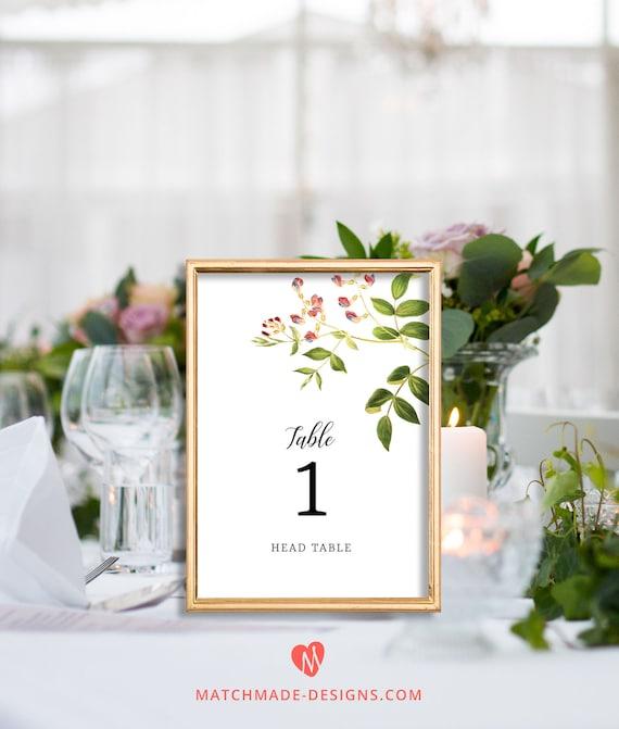 Blumen Hochzeitstisch Zahlen Vorlage Druckbare Hochzeit Etsy