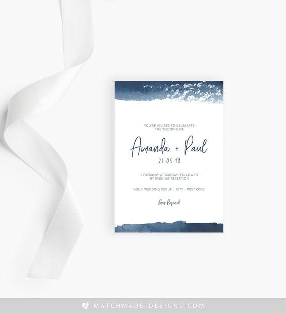 Navy Wedding Invitation Printable Watercolor Wedding Invite Template Download Navy Wedding Invite Beach Wedding Invitation Editable PDF