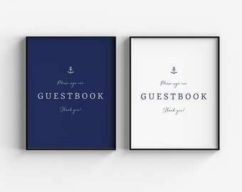Navy Wedding Guestbook Sign, Anchor Wedding Reception Sign, Printable Wedding Guestbook Sign, Sign Our Guestbook Wedding Signage Download