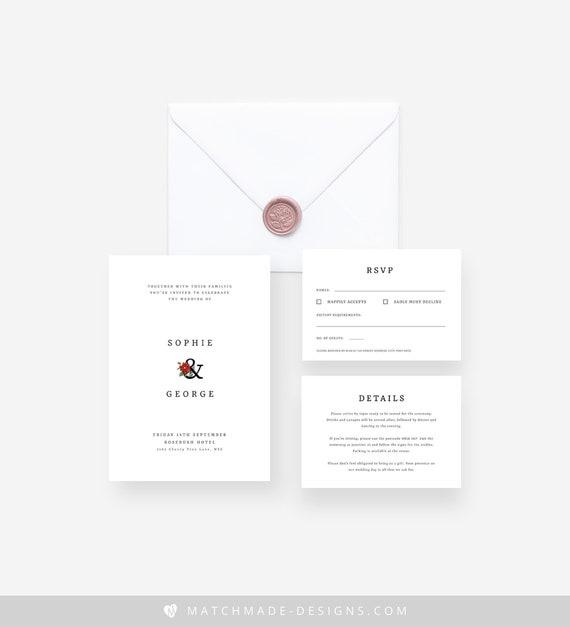 Minimalist Wedding Invitation Template Elegant Wedding Invitation Editable Modern Wedding Invitation Suite Minimal Invitation Templett