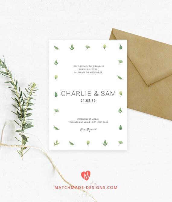Modern Green Leaves Wedding Invitation Template Simple Etsy
