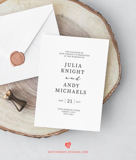 Szablon Zaproszenia ślubne Nadający Się Do Wydruku Etsy