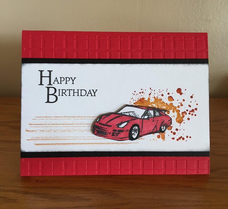 Racing Car Birthday Card Guy Loving