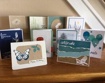 10 handmade special birthday cards, 10 Happy Birthday cards, assorted bundle of 10 birthday cards, Birthday greeting cards, blank inside,