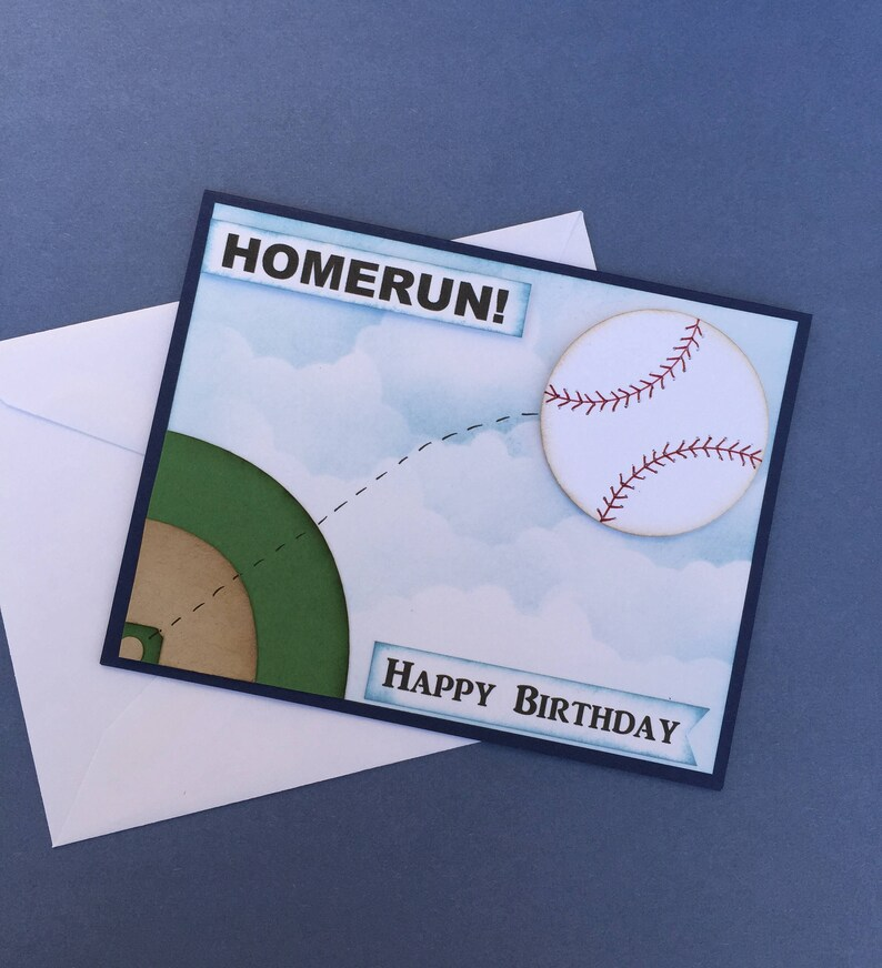 Baseball Birthday Card Happy Birthday Unisex Birthday Card Homerun Birthday Sport Themebaseball Card Pun Verse Age Option3d Baseball