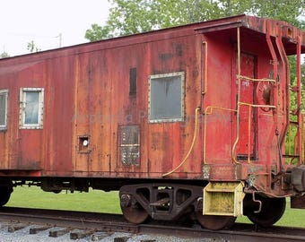 Red Caboose Train Art Color Photograph 25% off with coupon code SPRINGSALE