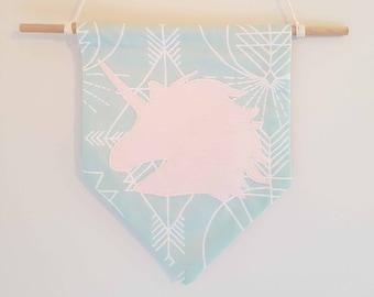 unicorn decor, fabric bunting, girls nursery, fabric wall hanging, unicorn wall art, unicorn gift, baby shower gift, unicorn nursery